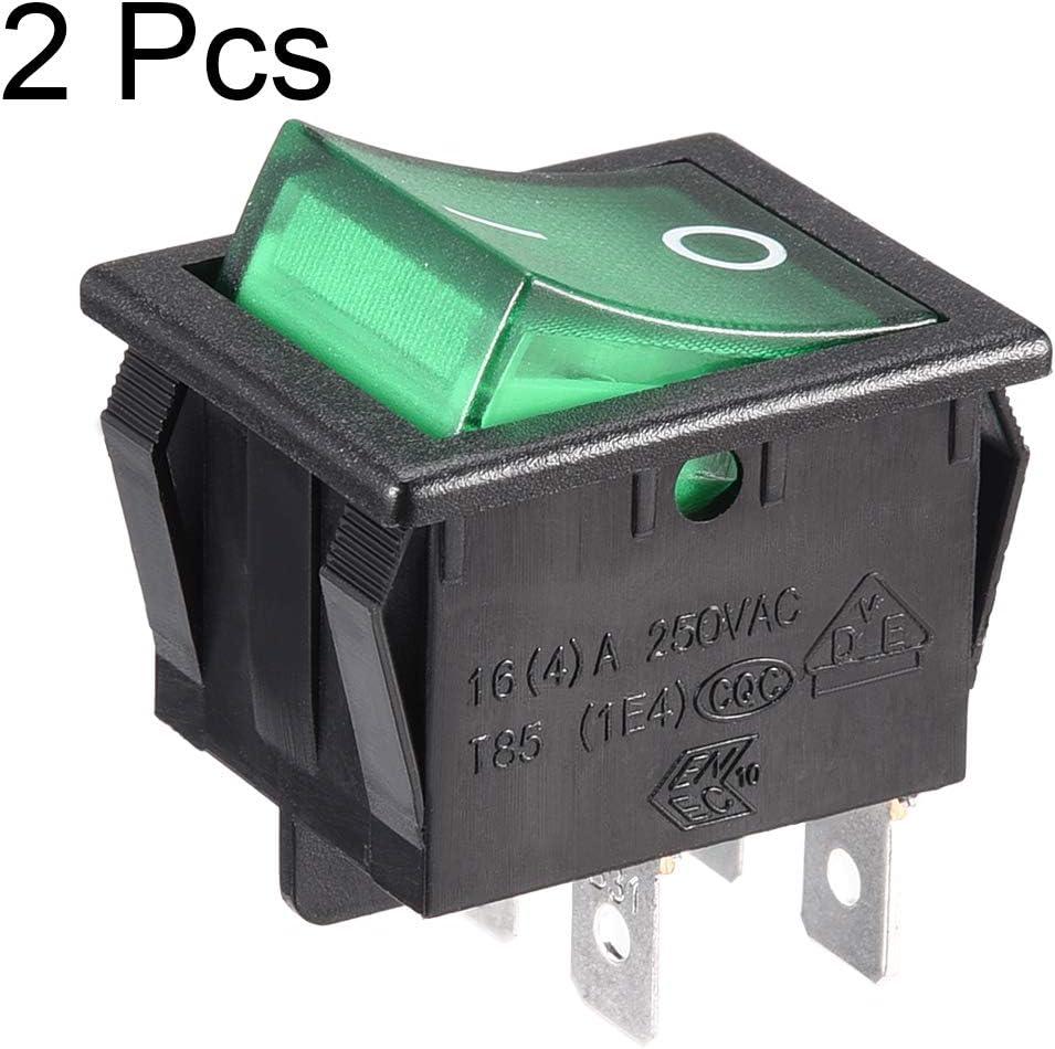 uxcell AC 12A//125V 10A//250V DPST 4P Green Light Boat Rocker Switch