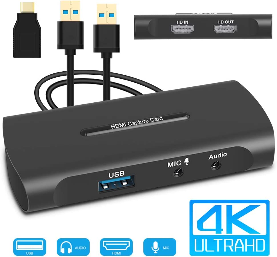 Tarjeta de Captura 4K, Capturadora Video HDMI a USB 3.0 con Entrada de Micrófono y Salida de Audio, 60fps Baja Latencia para Grabación de Vídeo, Transmisión en Vivo, Uso Compartido de Pantalla: