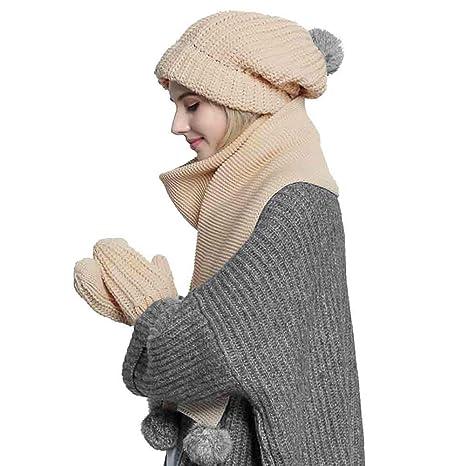 Sunny Berretto Invernale da Donna 3PC Lavorato A Maglia Cappello PON PON  Guanti E Set Sciarpa c44fe8577c29