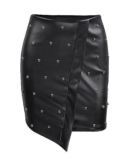ShiFan Mujeres Faldas De Polipiel Asimétrico Clubwear Mini Falda ...