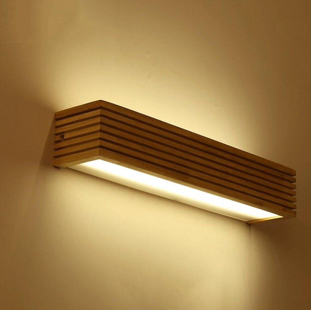 FAFZ-Wandlampe LED Massivholz Wandleuchte Schlafzimmer Nacht Wohnzimmer kreative rechteckige Badezimmer Badezimmer Spiegel vorne Schrank Licht Wandlampe (Farbe   Warmes Licht-35cm-6w)