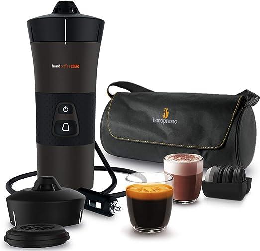 Handespresso – Handcoffee Auto Travel Pack 48312A Set con la cafetera portátil de 12V para coches que utilizan cápsulas blandas: Amazon.es: Hogar