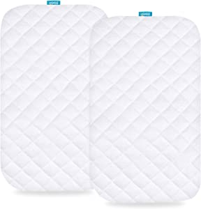 Waterproof Bassinet & Bedside Sleeper Mattress Pad Cover, Fit for Most Bedside Sleeper Bassinets Mattress, 2 Pack, Ultra Soft Bamboo Fleece Surface, Breathable and Easy Care