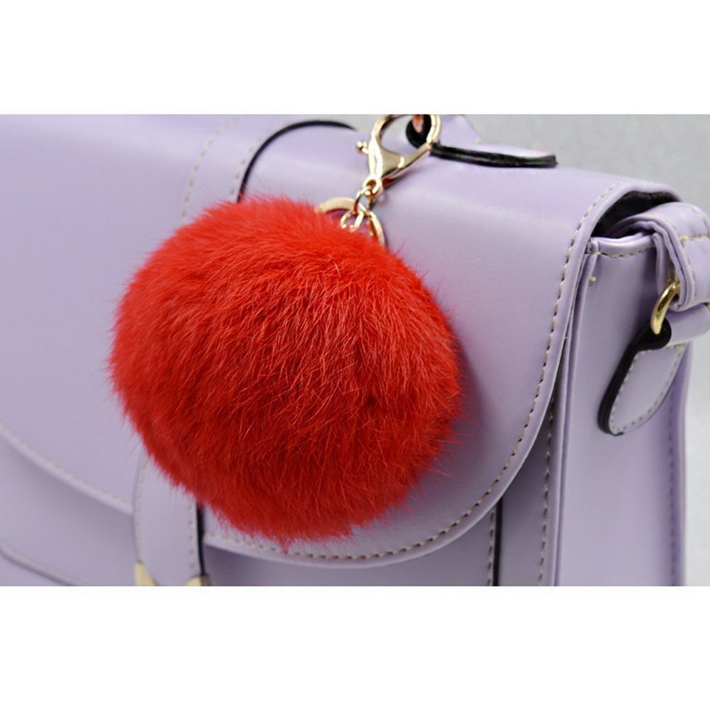Gold Plated Keychain Cute Genuine Fox Fur Ball Pom Pom Keychain for Car Key Ring Handbag Tote Bag Pendant Charm Black Crazy Cart