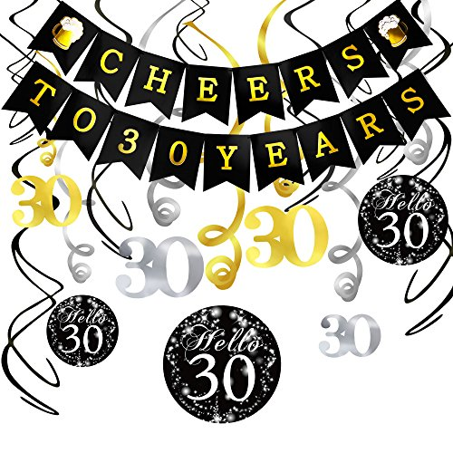30th Birthday Decorations Kit- Konsait Cheers to 30 Years Banner Swallowtail Bunting Garland Sparkling Celebration 30 Hanging Swirls,Perfect 30 Years Old Party Supplies 30th Anniversary Decorations -