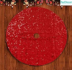 Red Sequin Embroidered Christmas Tree Skirt