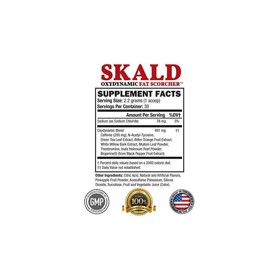 SKALD Powder First Pre Workout Fat Burner with Respiratory Support Best Thermogenic Weight Loss Drink for Men and Women for Energy, Cardio and Endurance