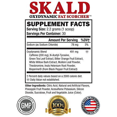SKALD® Powder First Pre Workout Fat Burner with Respiratory Support Best Thermogenic Weight Loss Drink for Men and Women Top Energy Boosting Supplement that Works Fast for Cardio and Endurance