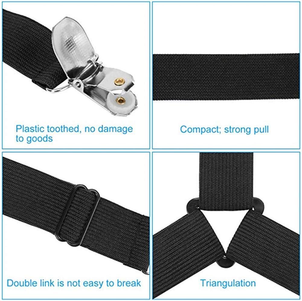 TimePro 4 x Bett-Strapsen f/ür Bettlaken Bettdeckenbezug elastischer Gurt Premium Bettlakenhalter verstellbares Dreieck Gurte Clips Greifer Matratze