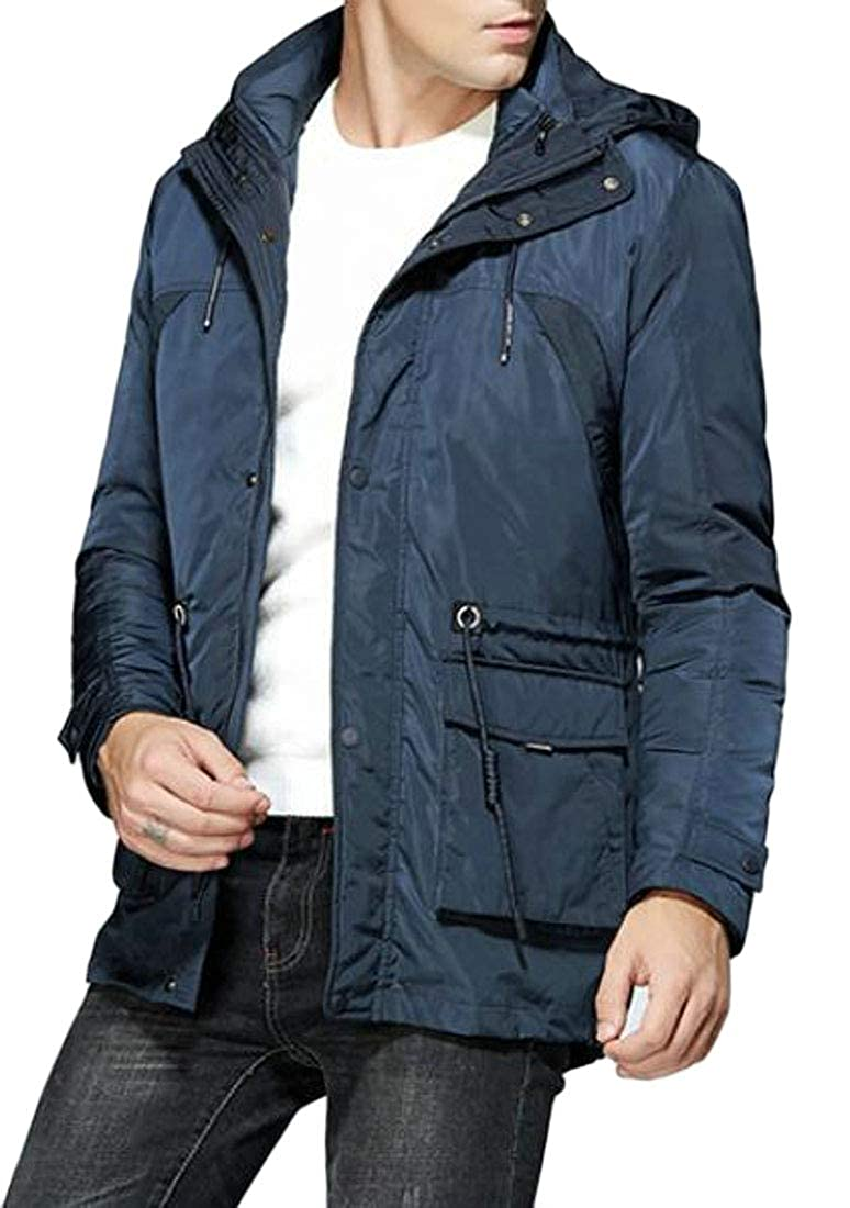 BOBOYU Mens Plus Size Winter Mid Length 2 Piece Suits Quilted Jacket Coat Outerwear