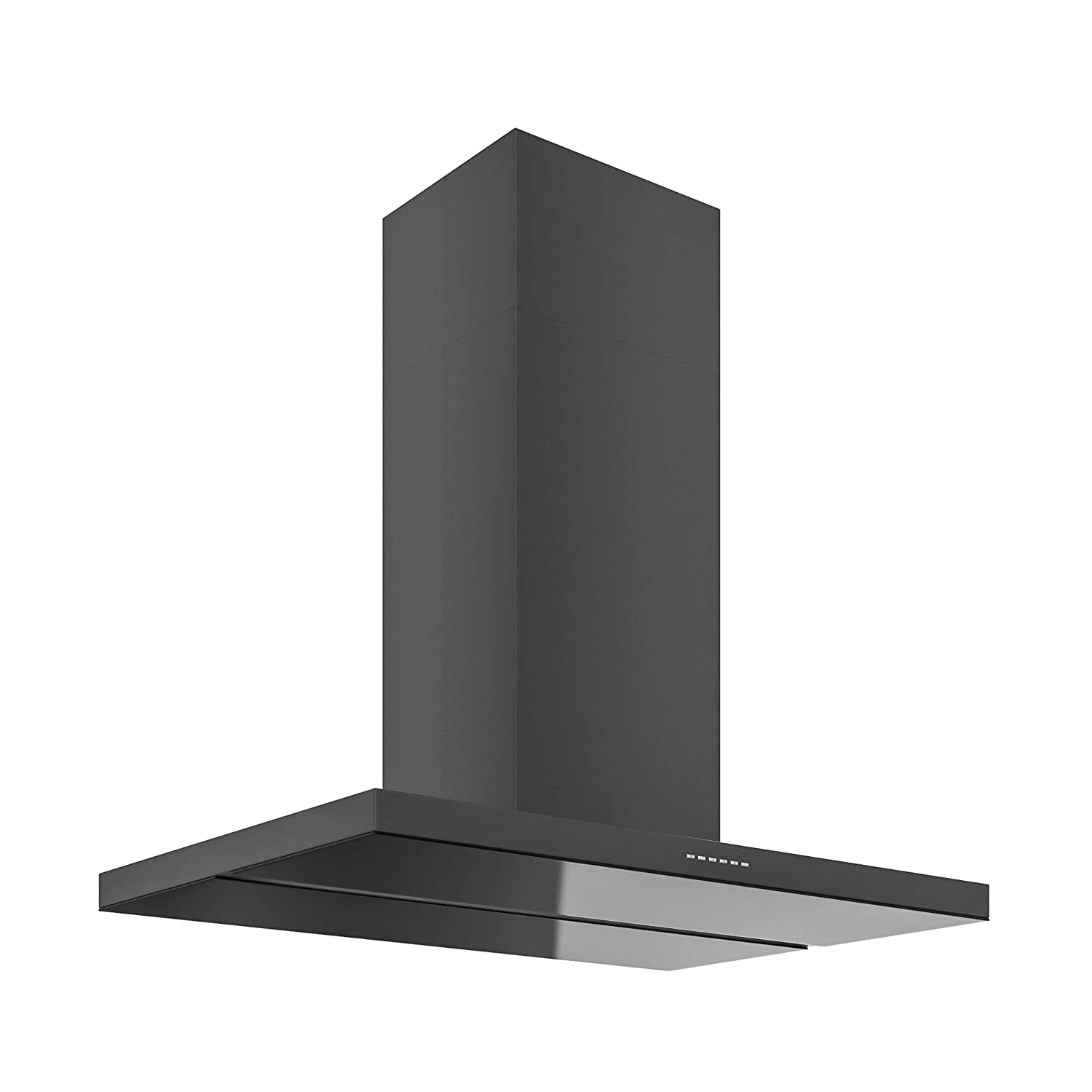 Futuro Futuro Viale Black 36 Inch Island-mount Kitchen Range Hood - Slim Steel and Glass Design from Italy - LED Ultra-Quiet with Blower