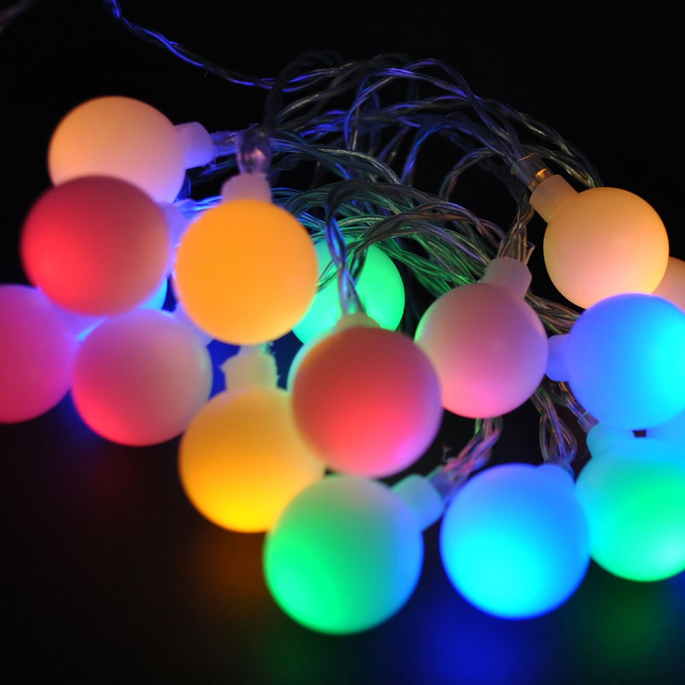 JnDee™ Waterproof Berry Ball Fairy Lights 10M + 8M 100 LED Multi Colours (Red, Green, Blue and Yellow) with 8 Light Effects Functions, for Both Indoor and Outdoor Christmas Tree Wedding Parties Decoration, Safe Voltage
