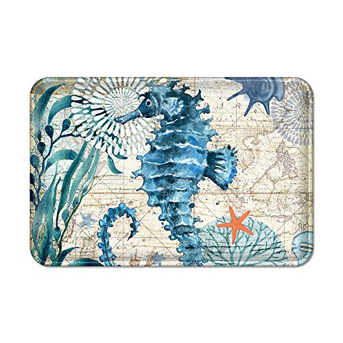Uphome Bathroom Rug, Vintage Summer Ocean Collection Sea Horse on Nautical Map Flannel Microfiber Foam Bath Mat Non-Slip Soft Absorbent Bath Mat Kitchen Floor Carpet, 16x24