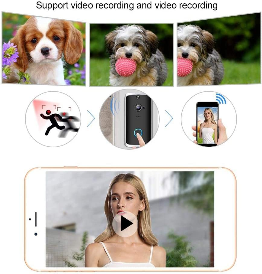 Timbre inal/ámbrico de 720P WiFi c/ámara de Seguridad Inteligente de videoportero Inteligente para monitoreo en el hogar