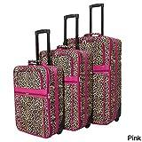 World Traveler Designer Leopard Print 3-piece Expandable Luggage Set