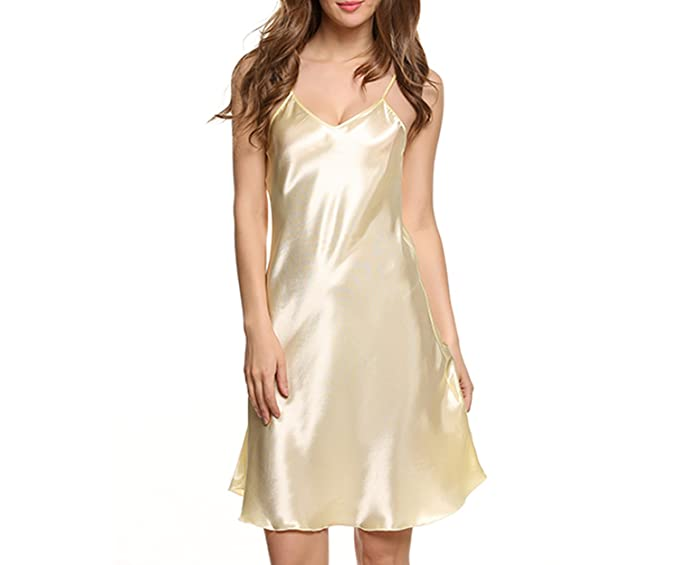 Image Unavailable. Image not available for. Color  Memoriesed Satin  Nightgown Women Silk Sleepwear ... 978ba48c3