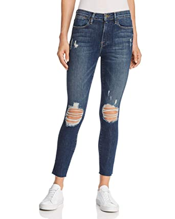 Denim Raw Slit In Jeans High Edge Frame Skinny Rivet Women's Le Crop dBCxeo