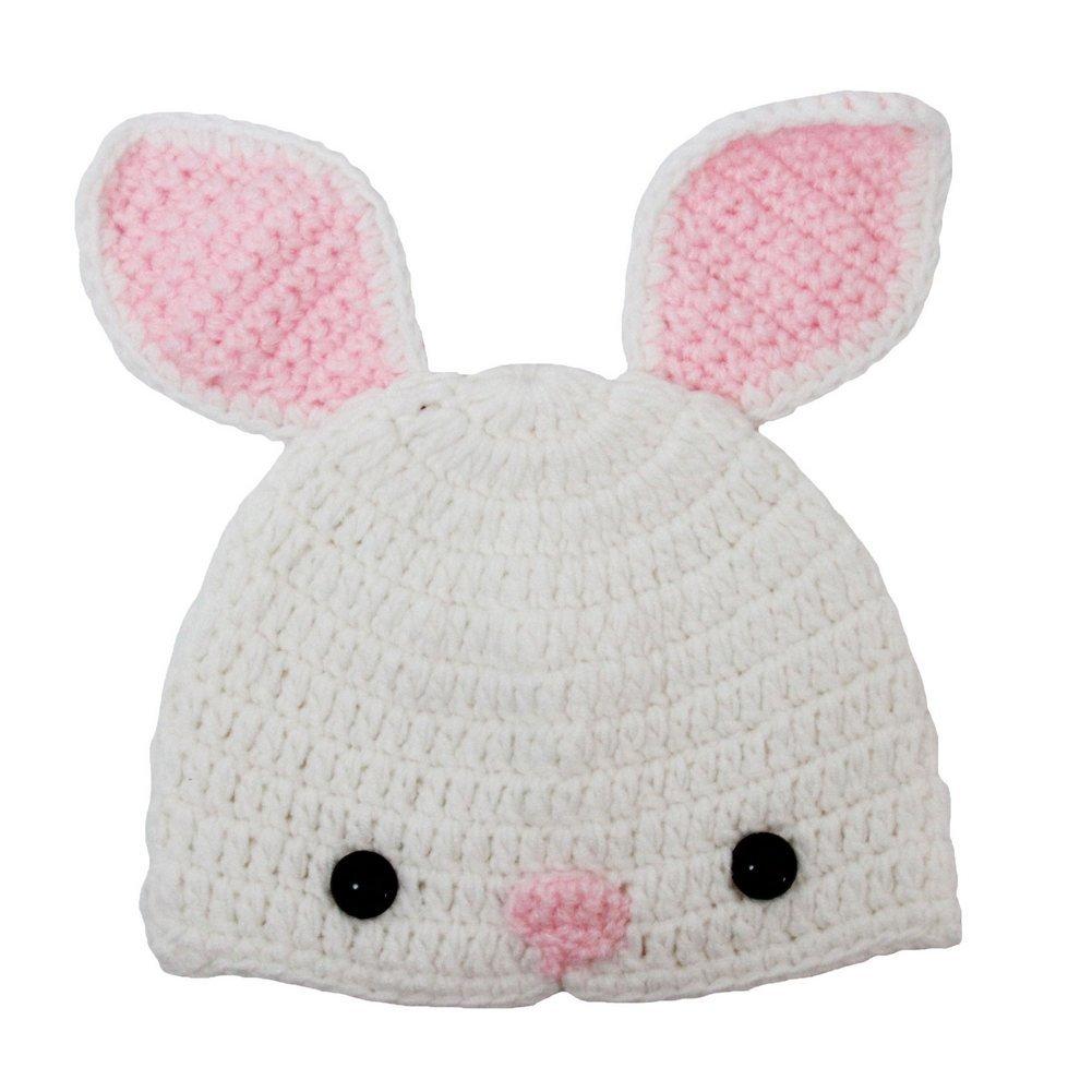 Dress Up Dreams Boutique Little Girls White Pink Ears Crochet Bunny Beanie Hat 2-4 Years