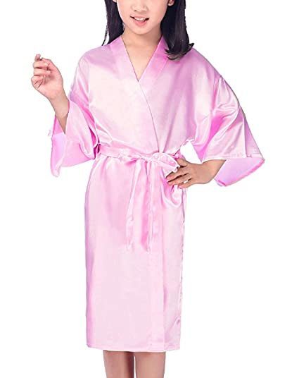 Mobarta Girls Kids  Satin Kimono Robe Fashion Bathrobe Silk Nightgown  Getting Ready Robe Wedding Spa 4a231c6c7