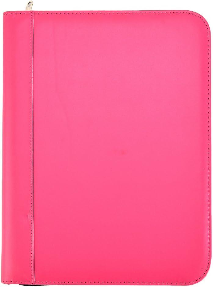 mit Stifthalterung schwarz Papierblock Tagungsmappe ///Organizer mit Rei/ßverschluss A4,/PU-Leder Kartensteckpl/ätzen