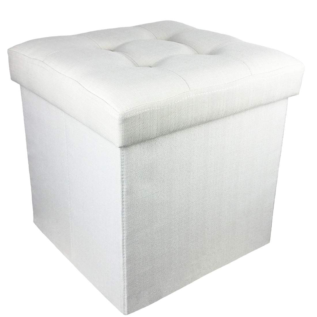 YIFONTIN Storage Ottoman Cube Foldable Foot Stool Basket Collapsible Bench Seat Footstool with Lid 15X15X15 inches for Entryway Bedside Reading Room, Linen Ivory.