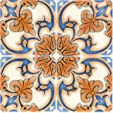 Backsplash Peel and Stick Tile Stickers 24 PC Set Authentic Tile Decals Bathroom & Kitchen Vinyl Wall Decals Easy to Apply Just Peel & Stick Home Decor (6x6 Inch, Vintage Orange H7)