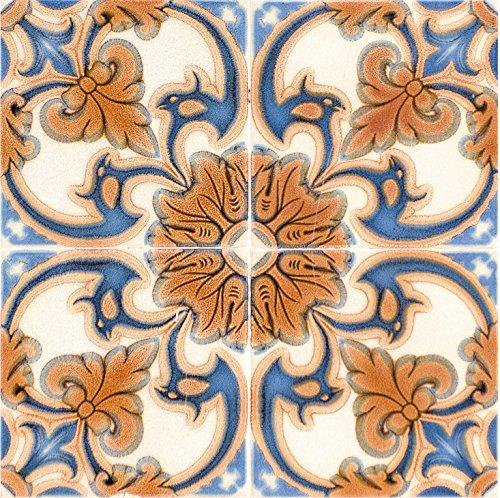 (Mi Alma Backsplash Peel and Stick Tile Stickers 24 PC Set Authentic Tile Decals Bathroom & Kitchen Vinyl Wall Decals Easy to Apply Just Peel & Stick Home Decor (6x6 Inch, Vintage Orange H7))