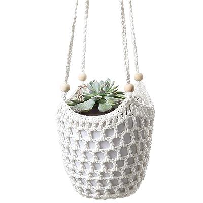 Mkono Macrame Plant Hanger Crochet Hanging Planter Indoor Outdoor Basket with Wooden Beads, 34 Inch: Garden & Outdoor