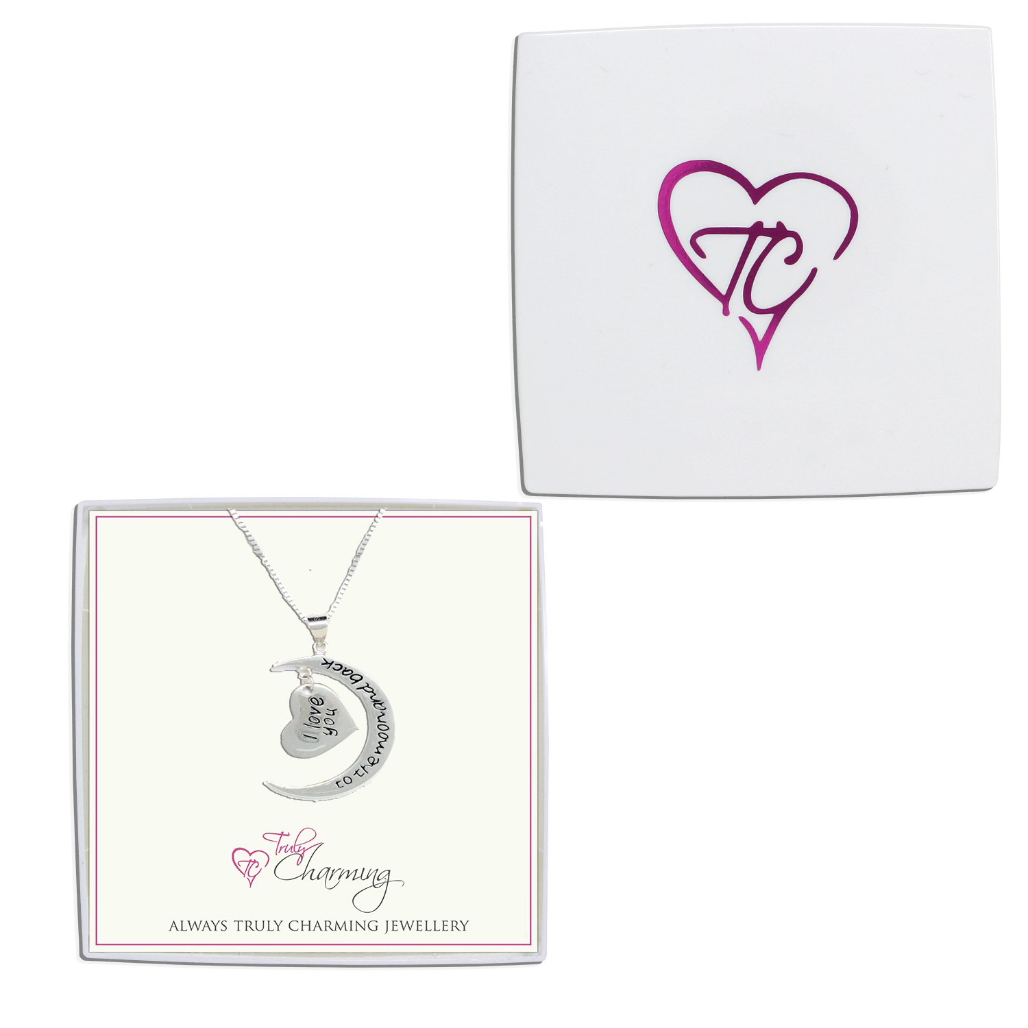 Truly Charming 925 Sterling Silver I Love You To The Moon And Back 2 Piece Pendant Necklace 18'' Chain Gift Boxed by Truly Charming (Image #2)