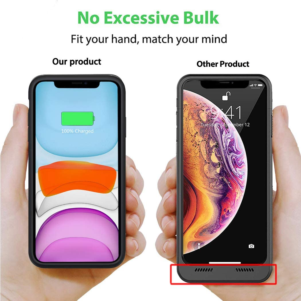 Battery Case for iPhone 11 6000mAh Portable Rechargeable Battery Pack Charging Case for iPhone 11 Extended Battery Charger Case Backup Power Bank 6.1 inch Black