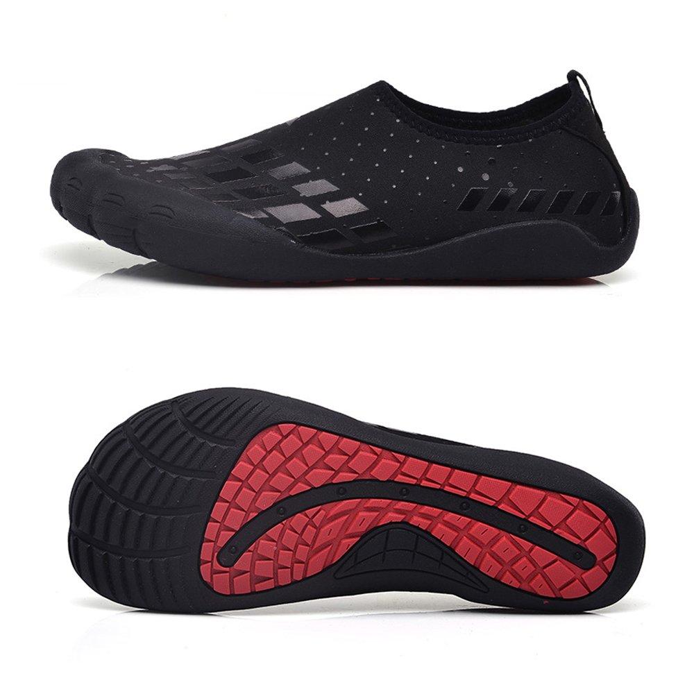 Water Shoes Mens Womens Beach Swim Shoes Quick-Dry Aqua Socks Pool Shoes for Surf Yoga Water Aerobics B07534WK83 11 D(M) US|Fivefingers-black Square