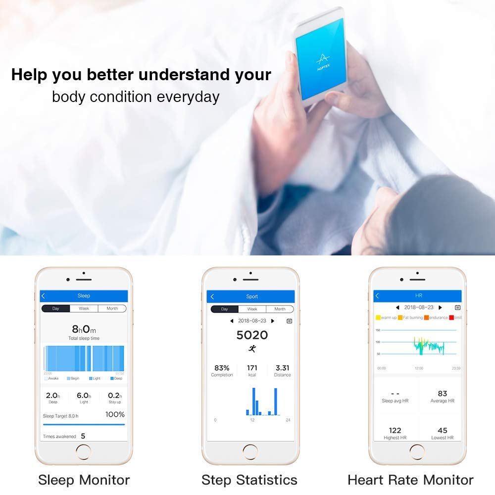 Amazon.com : AGPTEK Color Screen Fitness Tracker, Smart Wristband with Sport Band Heart Rate Sleep Monitor Blood Pressure Pedometer Calorie Counter ...
