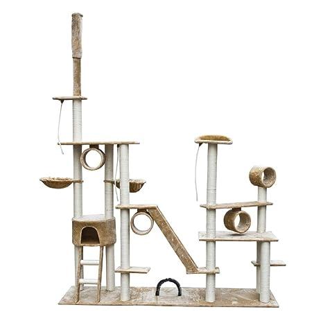 SENLUOWX Rascador Para Gatos Lujoso 230-260 cm Beige Felpa Gimnasio Para Gatos