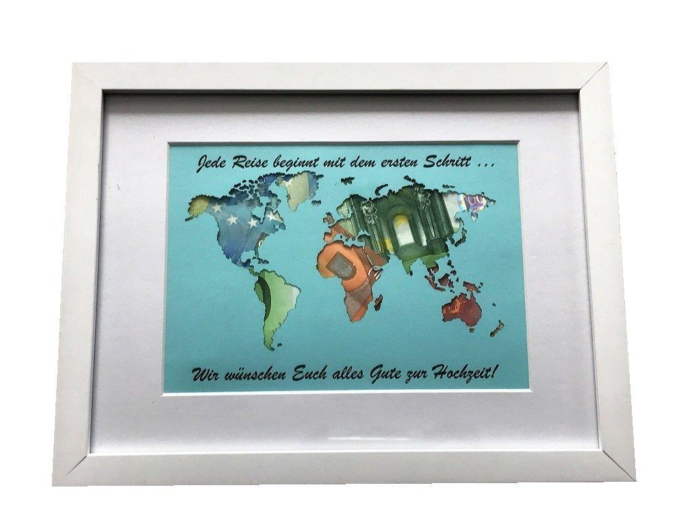 Geldgeschenk beschriftete Weltkarte im Bilderrahmen ...