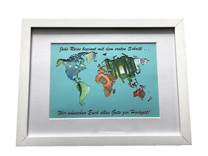 weltkarte hochzeitsgeschenk Geldgeschenk beschriftete Weltkarte im Bilderrahmen  weltkarte hochzeitsgeschenk