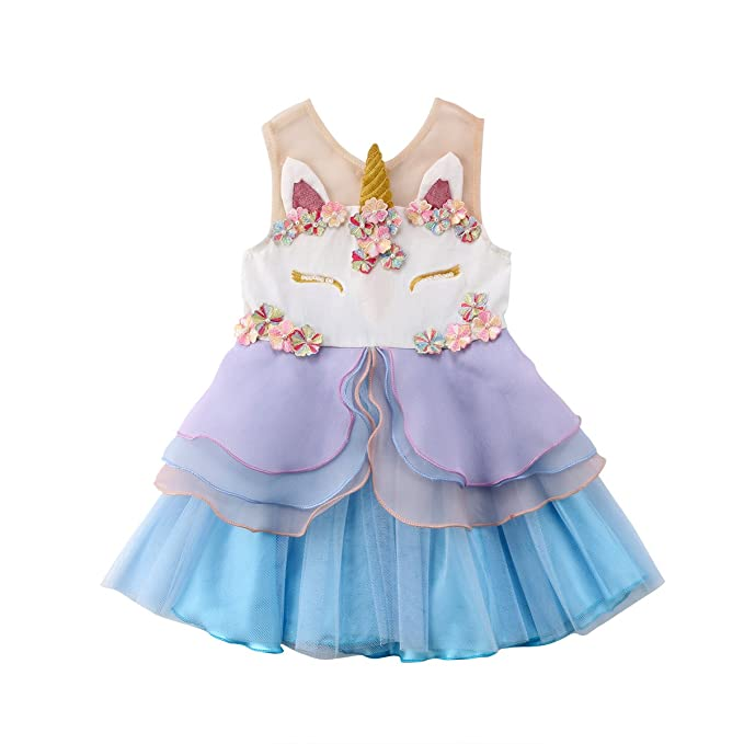 08f45e170cac Baby Girls Sleeveless Unicorn Dress Flower Girl Dress Baby Kids Girl 3D  Flower Lace Pageant Party