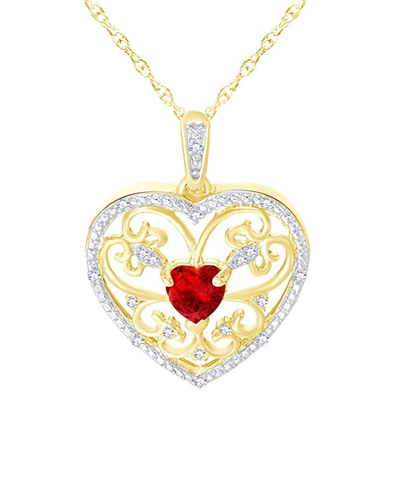 Wishrocks Heart Cut Simulated Ruby and Diamond Accent Scroll Heart Pendant in 14K Gold Over Sterling Silver