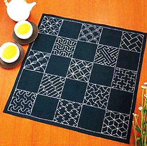 (Sashiko Furoshiki Pre-Printed Sampler Placemat # SC-EM290 - 13 Traditional Japanese Designs)