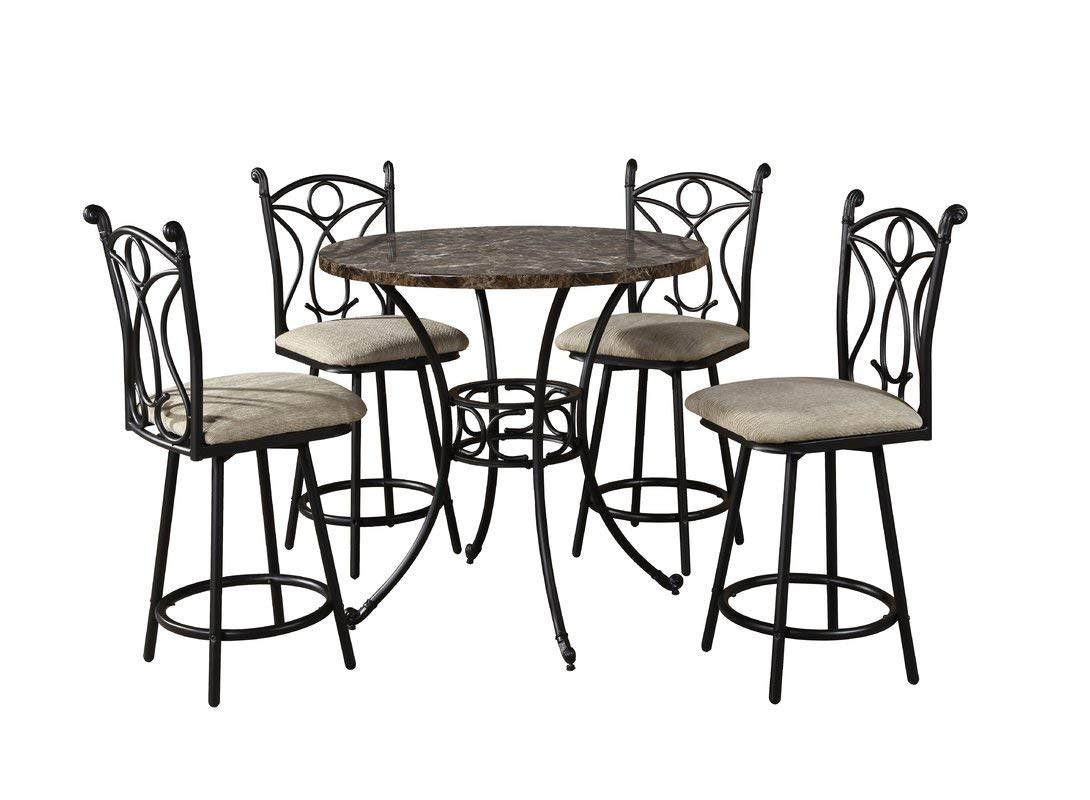 Steel Base Dining Table with Curved Legs - Dining Table with Circular Marble Top - Black