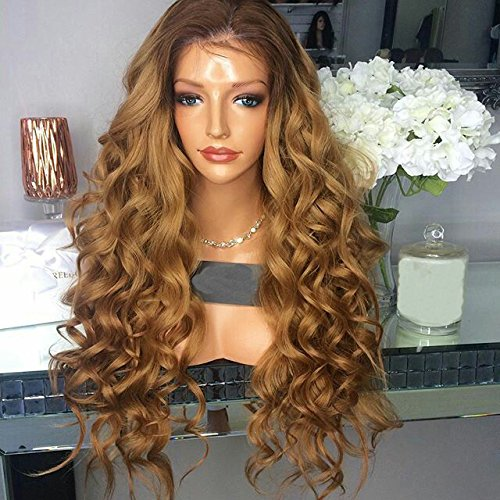 KRN Loose Wave Brazilian Human Hair Wigs for Black Women Glueless Lace Front Wigs Two Tone Ombre Color (22 Inch, Lace Front Wig) by KRN