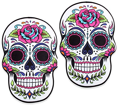 (Sugar Skull Bath and Kitchen Mat, Set of 2 Memory Foam, Day of The Dead Bathroom Rug 16x24 inches)