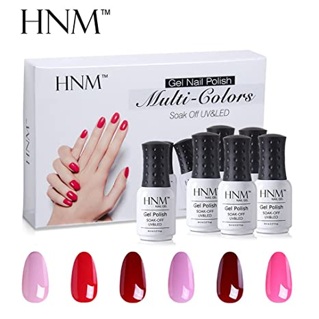 Esmalte de Uñas Semipermanentes Kit Uñas de Gel UV LED Manicura Semipermanente 6pcs 8ml de HNM
