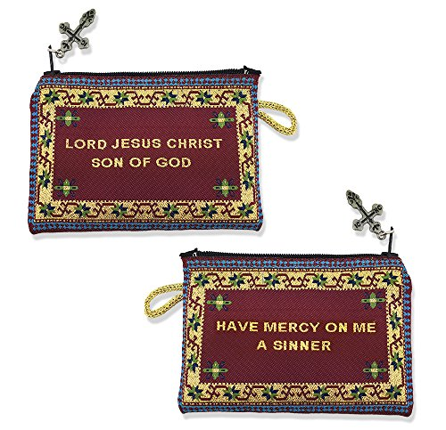 2 Sided Tapestry Cloth Jesus Prayer Pouch 4 1/4 Inch