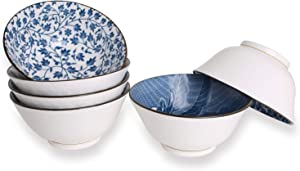 YALONG 20-Ounce Deep Soup Bowls Set of 6 for Cereal, Soup, Salad Rice 6 inch Assorted Blue and White Patterns, Ceramic Deep White Simple Serving Soup Rice Salad Noodle Pasta Pho Bowls Set