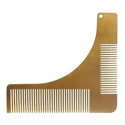 Andux Zone Peine de barba para hombre Barba de acero inoxidable que diseña la plantilla de
