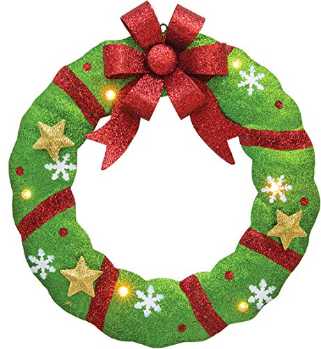 LED Lighted Glittered Metal Christmas Tree or Wreath - Light Up Wall Hanging Holiday Decoration ()