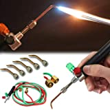 JUST N1 Jewelry Micro Mini Gas Little Torch Welding Soldering kit with 5 Weld Tips for Oxygen Cylinders Hoses Acetylene