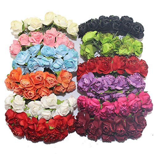 144pcs-1-15cm-head-multicolor-mulberry-glitter-paper-flower-bouquet-wire-stem-scrapbooking-artificia