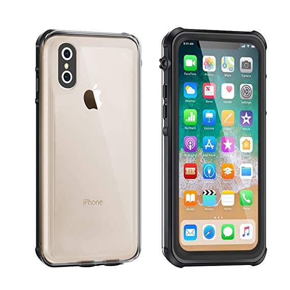 separation shoes e9cb0 c5627 Waterproof Case for iPhone X/Xs, Eonfine Clear Protective Case IP68  Certified with Touch ID Screen Protector Ultra Slim Shockproof Case for  iPhone ...