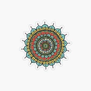 DKISEE Mandala Circle Round Laptop Sticker, Vinyl Trendy Fashion Sticker Decal, Waterbottle Sticker, Snowboard Sticker, Luggage Phonecase Decor, 8 Inch